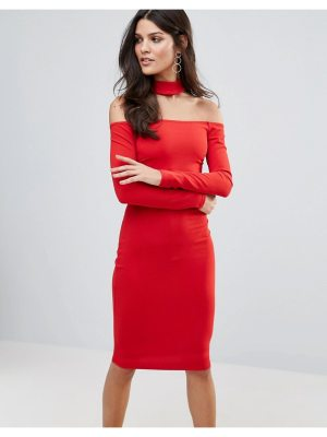 Jessica Wright Long Sleeve Choker Neck Midi Dress