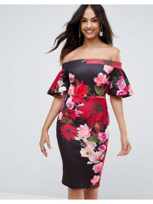Jessica Wright Printed Pencil Midi Dress With Frill Sleeve