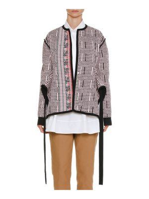 Jil Sander One-Button Textured-Knit Side-Slit Jacket with Ribbon Trim