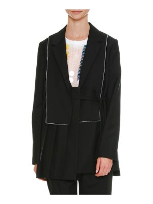 Jil Sander Pleated Notched-Collar Side-Tie Wool-Mohair Coat