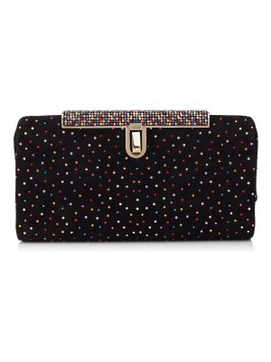Jimmy Choo CAY Black Suede Clutch Bag with Multi Crystals