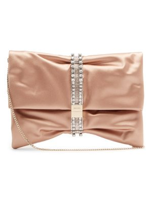 Jimmy Choo Chandra crystal-embellished satin clutch bag