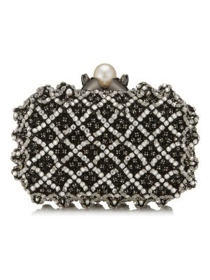 Jimmy Choo CLOUD Black Satin Clutch Bag with Crystal Bead Embroidery