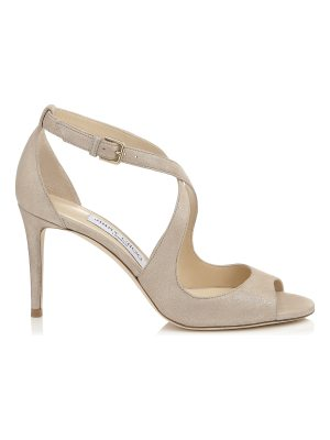 Jimmy Choo EMILY 85 Sand Shimmer Suede Sandals