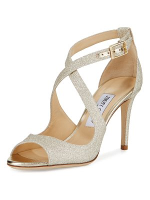 Jimmy Choo Emily Glitter Crisscross 85mm Sandals