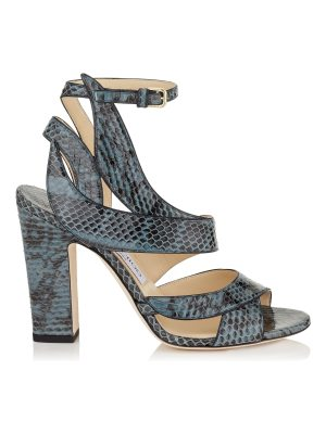 Jimmy Choo FALCON 100 Dusk Blue Elaphe Sandals