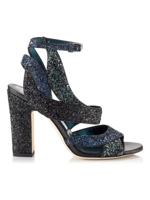 Jimmy Choo FALCON 100 Navy Coarse Glitter Fabric Sandals