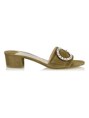 Jimmy Choo GRANGER 35 Olive Suede Mules with Crystal Buckle