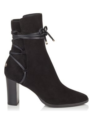 Jimmy Choo HAMPTON 80 Black Suede and Leather Boots