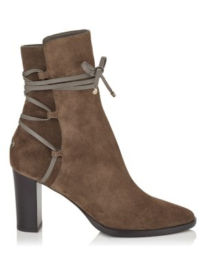 Jimmy Choo HAMPTON 80 Mink Suede and Leather Boots