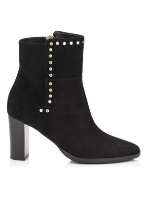 Jimmy Choo HARLOW 80 Black Suede Boots with Stud Trim