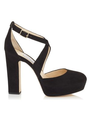 Jimmy Choo JOYCE 120 Black Suede Platform Pumps