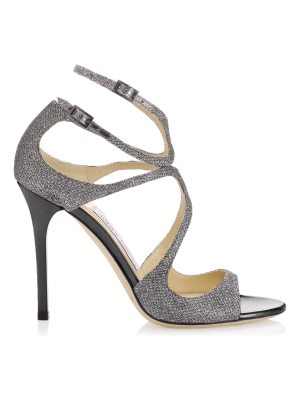 Jimmy Choo LANG Anthracite Lamé Glitter Sandals