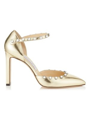 Jimmy Choo LEEMA 100 Gold Mirror Leather Pumps with Beads