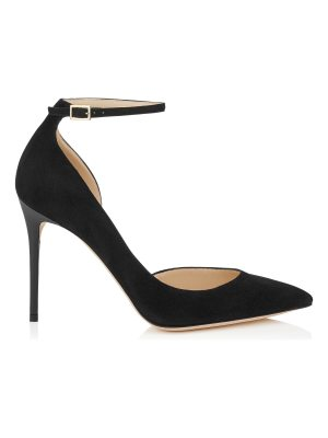Jimmy Choo LUCY 100 Black Suede Pointy Toe Pumps