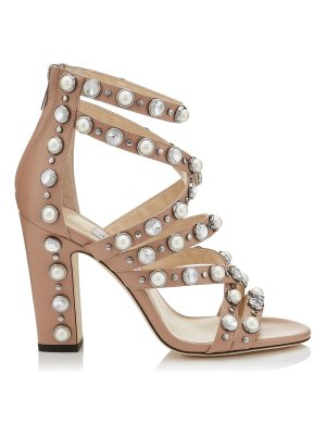 Jimmy Choo MOORE 100 Ballet Pink Calf Leather Sandals with Beads and Crystals