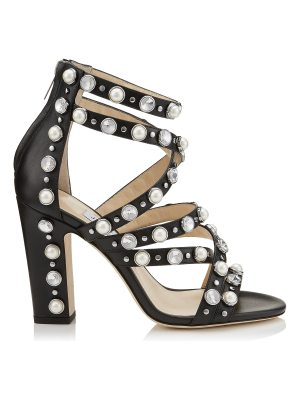 Jimmy Choo MOORE 100 Black Calf Leather Sandals with Beads and Crystals