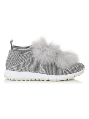 Jimmy Choo NORWAY Moonstone Knit and Lurex Trainers with Silver Fur Pom Poms