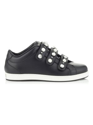 Jimmy Choo NY Black Nappa Leather Trainers with Beads and Crystals