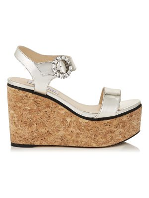 Jimmy Choo NYLAH 100 Silver Mirror Leather Cork Wedge Sandals with Crystal Buckle