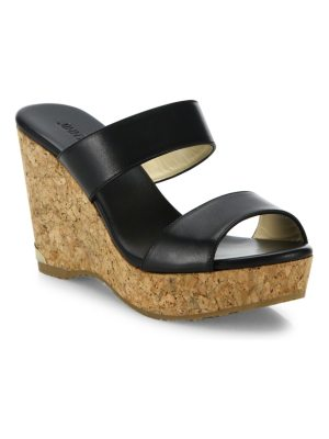 Jimmy Choo parker leather & cork wedge sandals