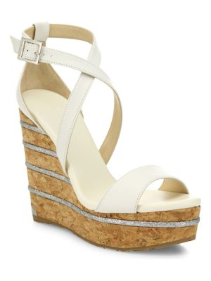 Jimmy Choo portia 120 leather ankle-wrap cork wedge sandals