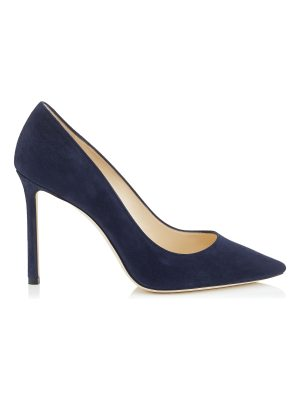 Jimmy Choo ROMY 100 Navy Suede Pointy Toe Pumps