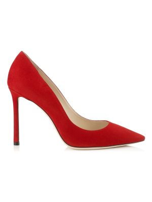 Jimmy Choo ROMY 100 Red Suede Pointy Toe Pumps