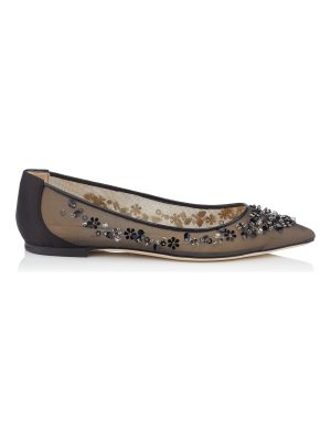 Jimmy Choo ROMY FLAT Black Mix Satin and Mesh Pointy Toe Flats with Sequin Embroidery