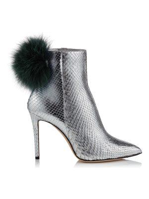 Jimmy Choo TESLER 100 Silver Python Booties with Bottle Green Fox Fur Pom Poms
