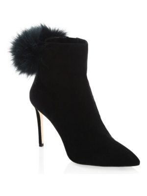 Jimmy Choo tesler fur pom & suede booties