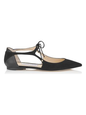 Jimmy Choo VANESSA FLAT Black Suede and Nappa Leather Pointy Toe Flats