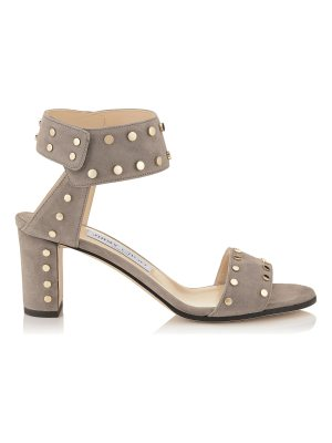 Jimmy Choo VETO 65 Light Mocha Suede Sandals with Gold Studs