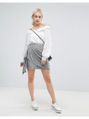 J.O.A. wrap front mini skirt in vintage check-multi