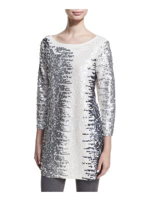 Joan Vass Sequined Boat-Neck 3/4 Sleeve Tunic