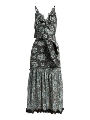 Johanna Ortiz bead embellished lace cotton blend faille dress
