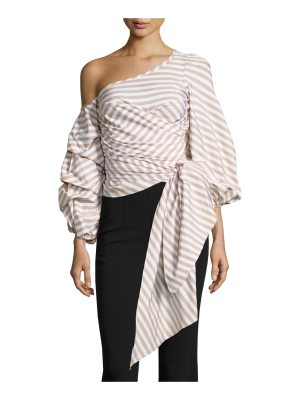 Johanna Ortiz Leticia Pinstripe Off-Shoulder Wrap Blouse