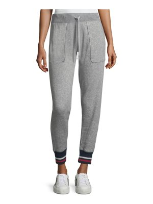 Joie Denicah Heathered Drawstring Jogger Pants w/ Striped Trim