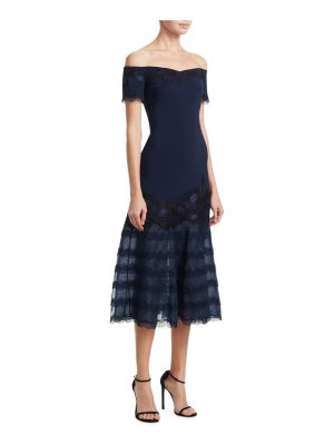 JONATHAN SIMKHAI crepe applique off-the-shoulder trumpet dress