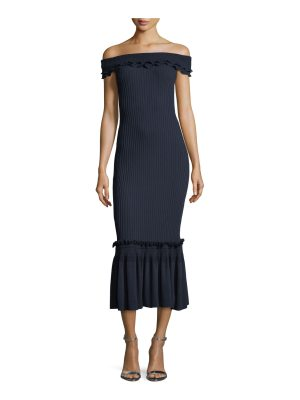 JONATHAN SIMKHAI Off-the-Shoulder Ribbed Midi Dress w/ Ruffled Trim