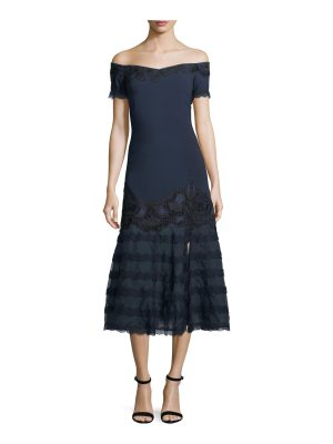 JONATHAN SIMKHAI Off-the-Shoulder Trumpet Dress w/ Embroidered Lace