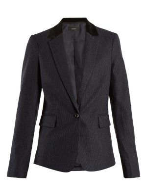 Joseph Prisca velvet-trimmed pinstriped wool-blend jacket