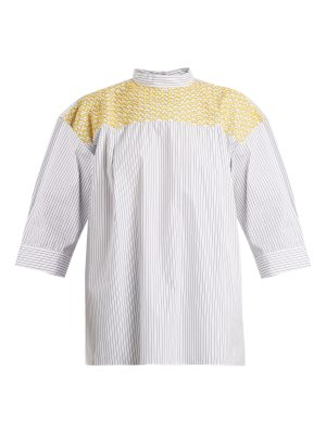 JUPE BY JACKIE chao yoke embroidered striped cotton top