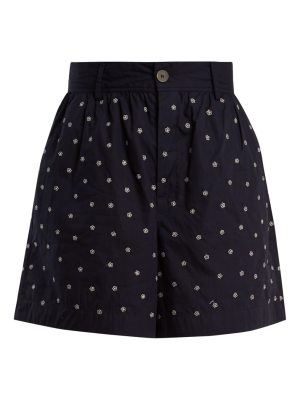 JUPE BY JACKIE Elbrus high-rise floral-embroidered cotton shorts