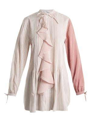 J.W.ANDERSON Ruffled-front striped silk-charmeuse tunic top