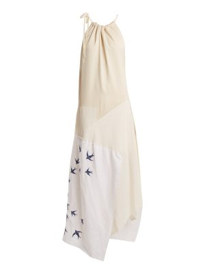 J.W.ANDERSON Swallow-embroidered contrast-panel linen dress