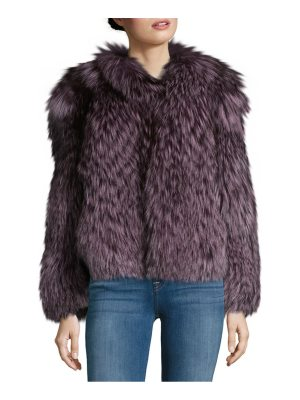 Karl Lagerfeld Paris Fuzzy Fox Fur Coat