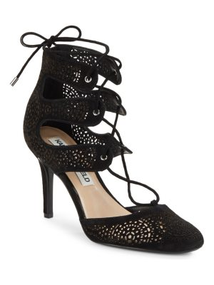 Karl Lagerfeld Paris Joslyn Lasercut Lace-Up Heels