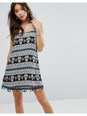 Kiss The Sky Cami Dress With Festival Print & Trim