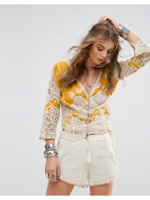 Kiss The Sky Festival Wrap Front Top With Embroidery And Crochet Inserts